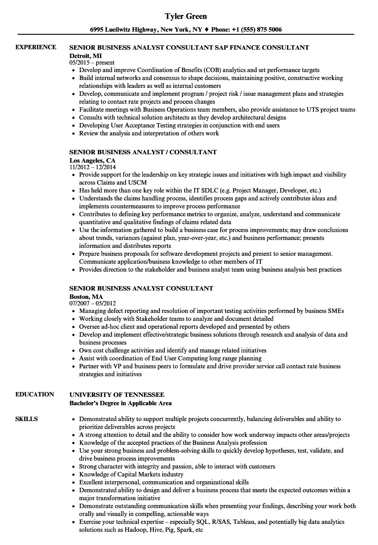 Senior Business Analyst Resume Senior Business Analyst Consultant Resume Samples