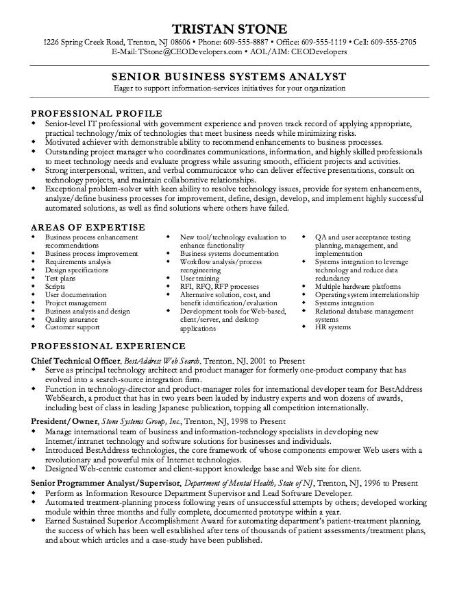 Senior Business Analyst Resume Senior Business Analyst Resume Example