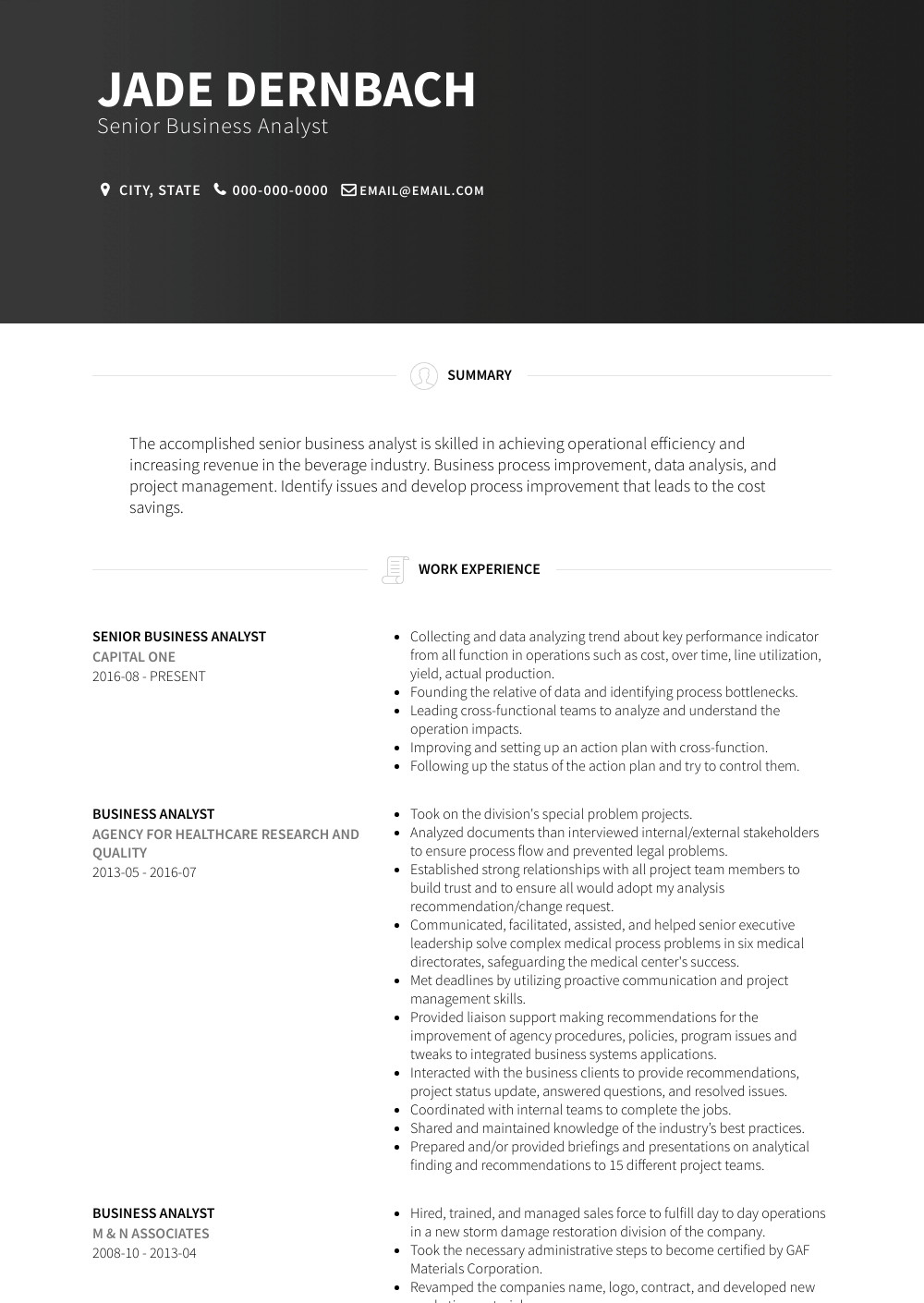 Senior Business Analyst Resume Senior Business Analyst Resume Samples & Templates