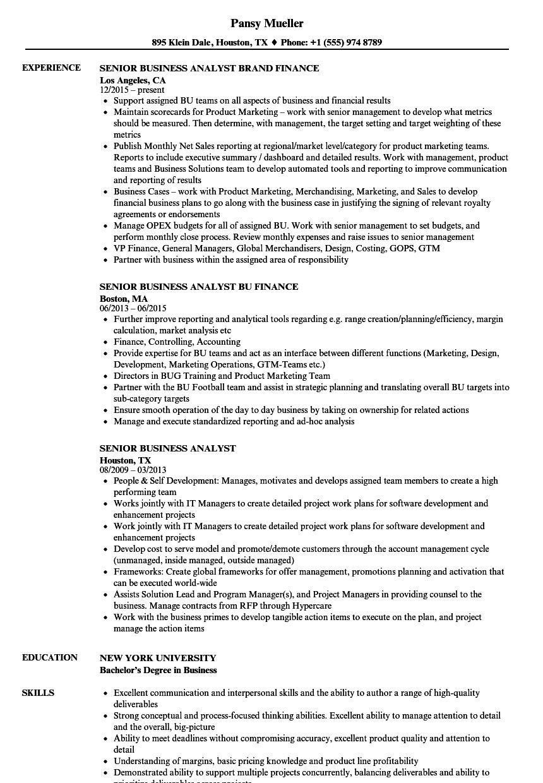 Senior Business Analyst Resume Senior Business Analyst Resume Samples