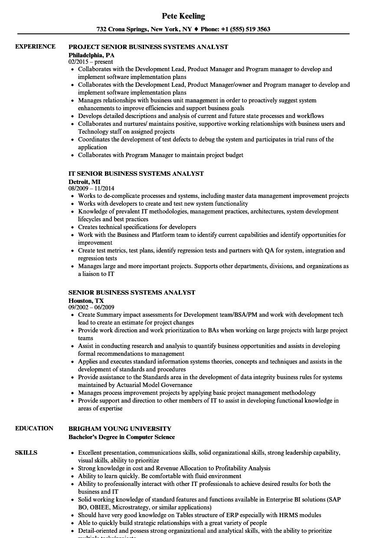 Senior Business Analyst Resume Senior Business Systems Analyst Resume Samples