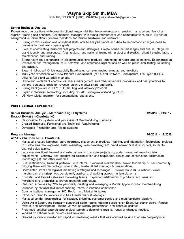 Senior Business Analyst Resume Wayne Smith Senior Business Analyst Resume