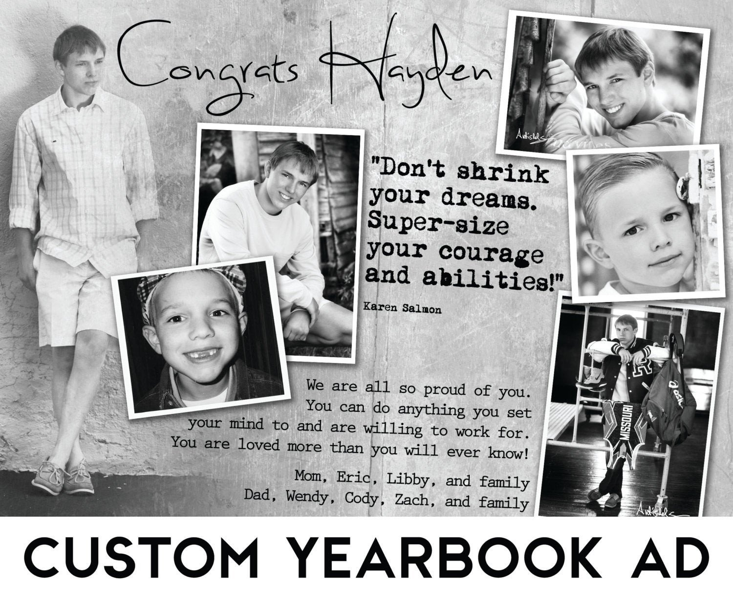 Senior Yearbook Page Template Custom Senior Yearbook Ad W Design Consultation