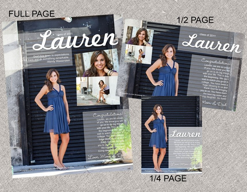 Senior Yearbook Page Template Senior Ad Layouts