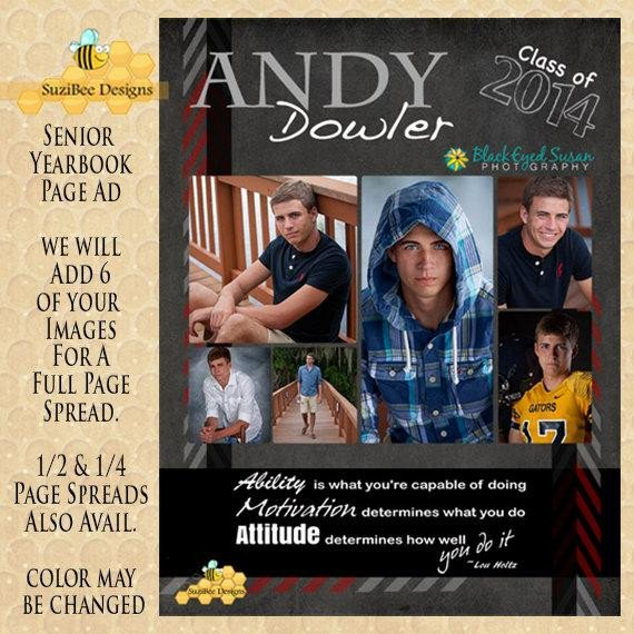 Senior Yearbook Page Template Yearbook Ad Full Page Half Page Quarter Page by Suzibeedesigns