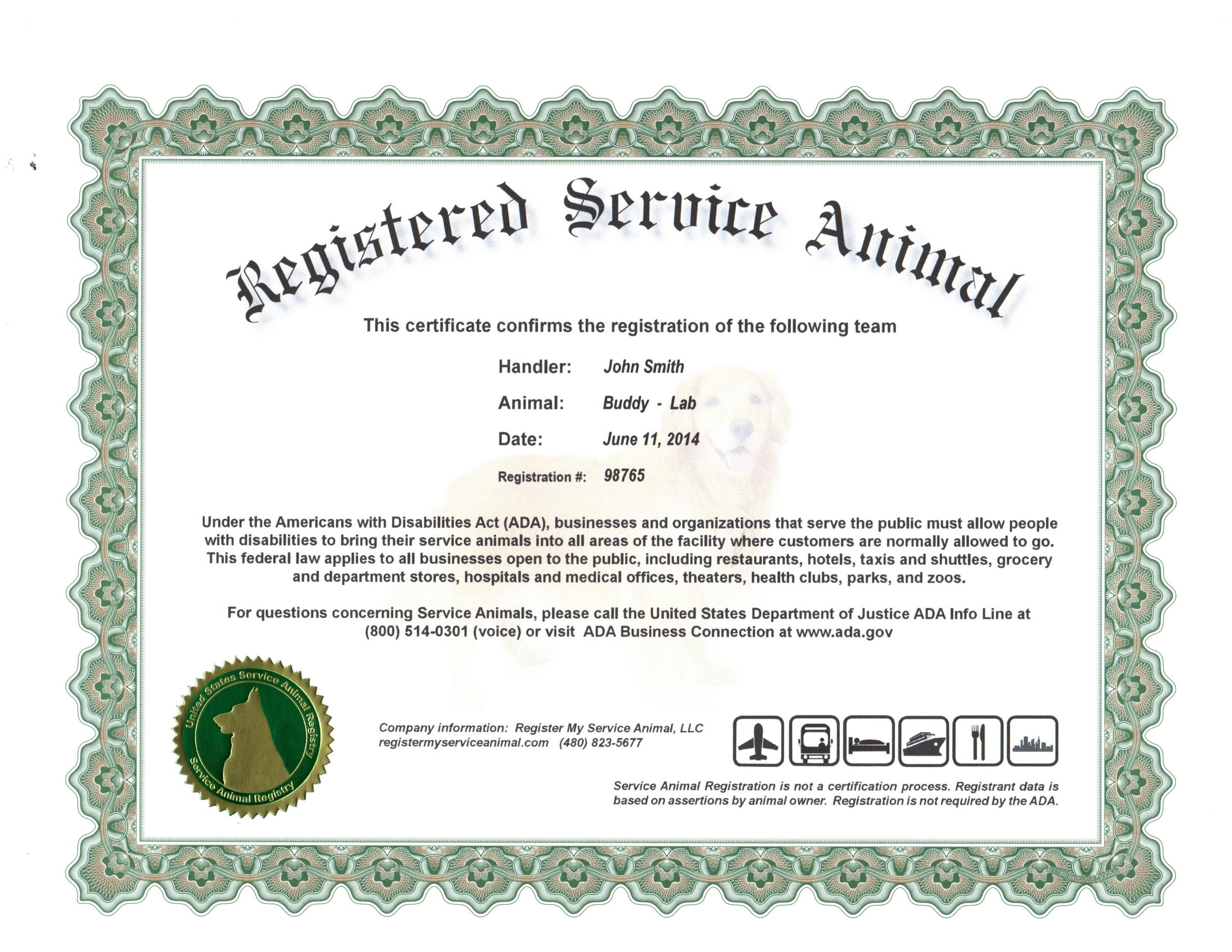 Service Dog Certificate Template 24 Of Service Animal Certificate Template