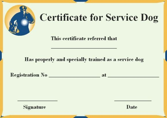 Service Dog Certificate Template Free Certification for Service Dogs
