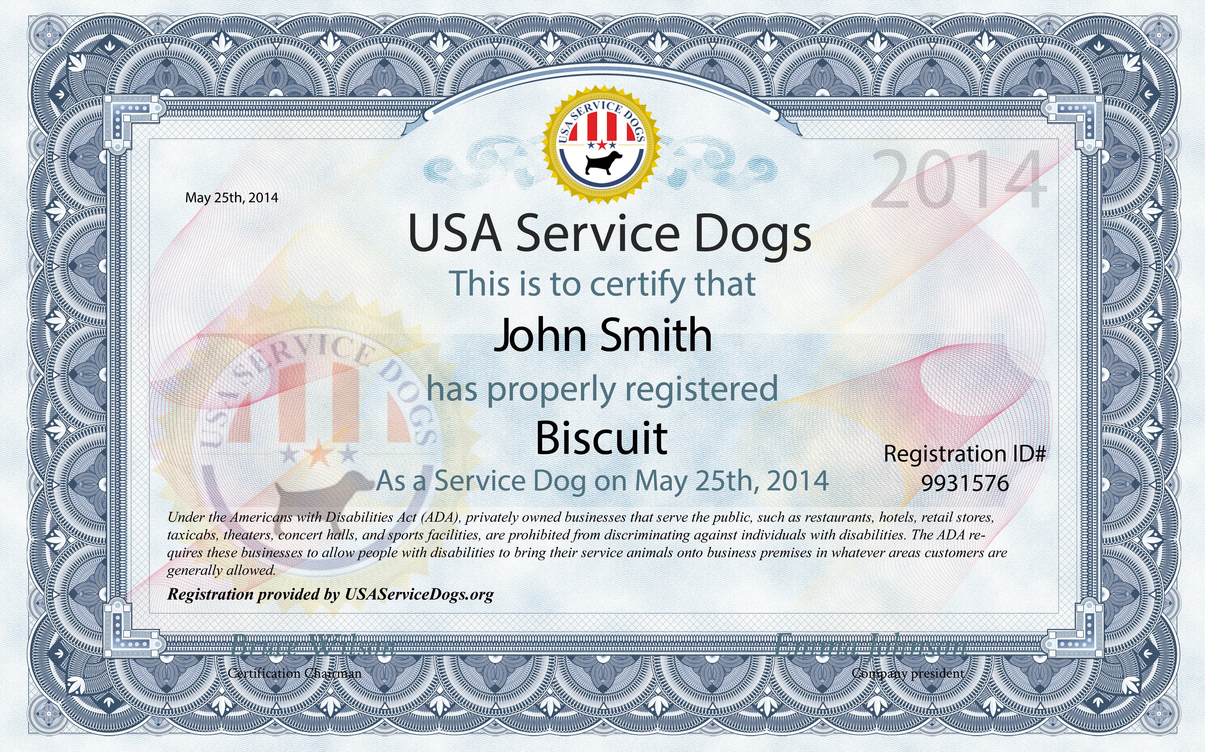 Service Dog Certificate Template Usa Service Dogs order Service Dog Kit
