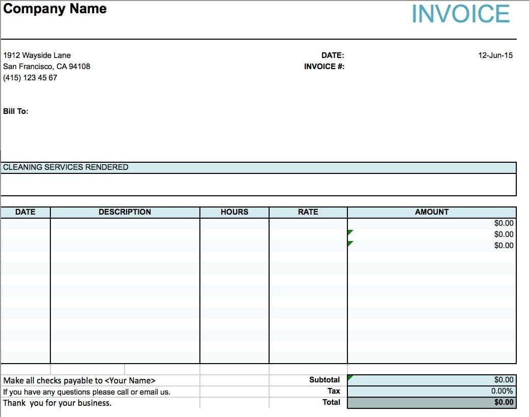 Service Invoice Template Free Cleaning Service Invoice Invoice Template Ideas
