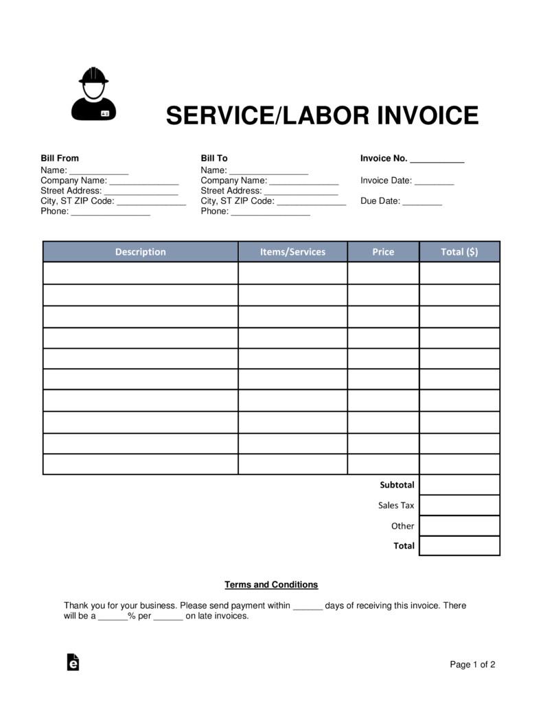 Service Invoice Template Free Free Service Labor Invoice Template Word Pdf