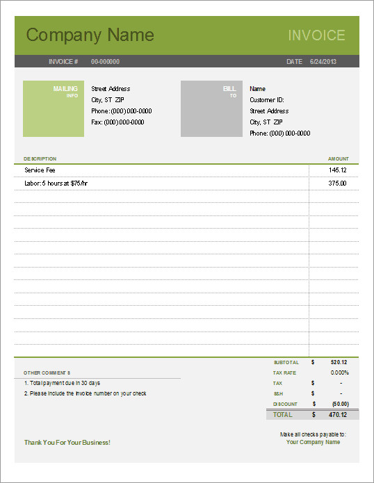 Service Invoice Template Free Printable Free Invoice Templates the Grid System