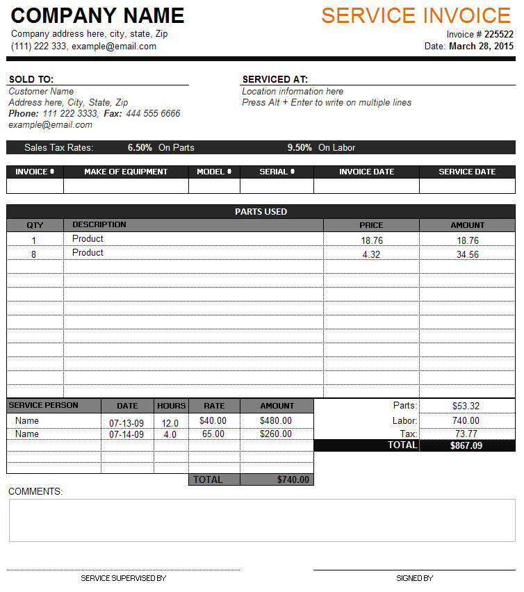 Service Invoice Template Free Service Invoice Template Perfect Business Invoice