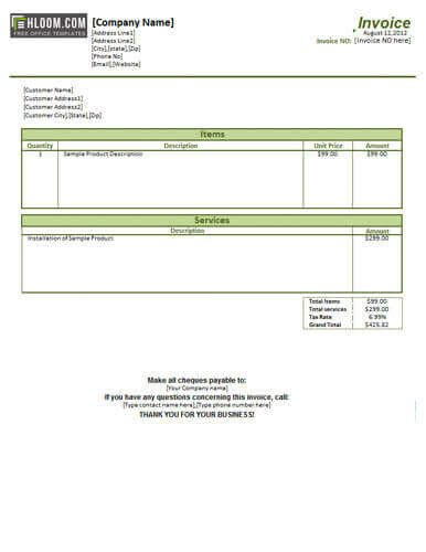 Service Invoice Templates Word 25 Free Service Invoice Templates [billing In Word and