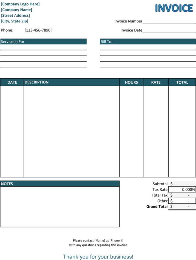 Service Invoice Templates Word 5 Service Invoice Templates for Word and Excel