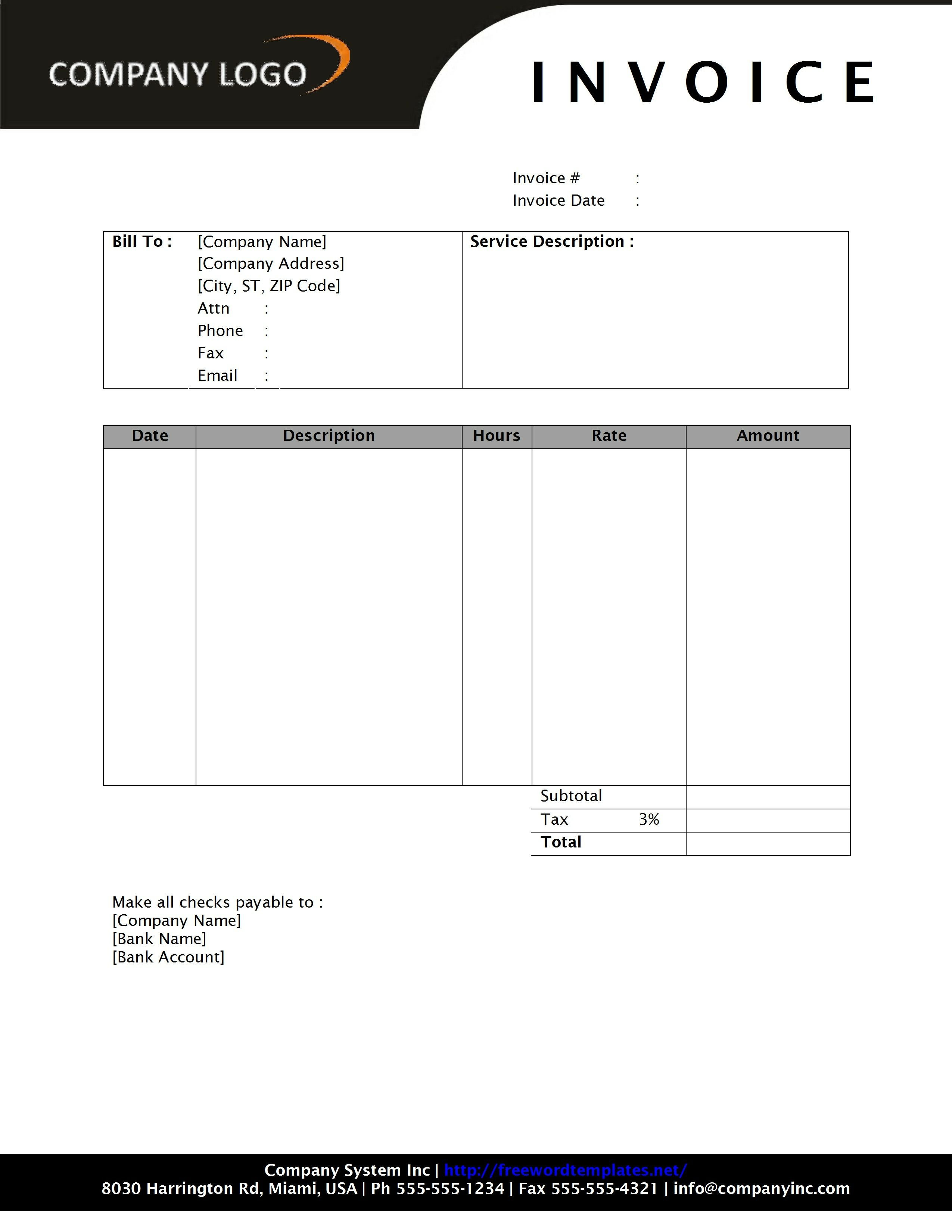 Service Invoice Templates Word General Service Invoice