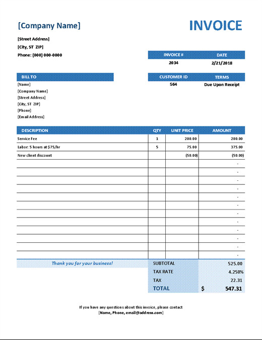 Service Invoice Templates Word Invoices Fice