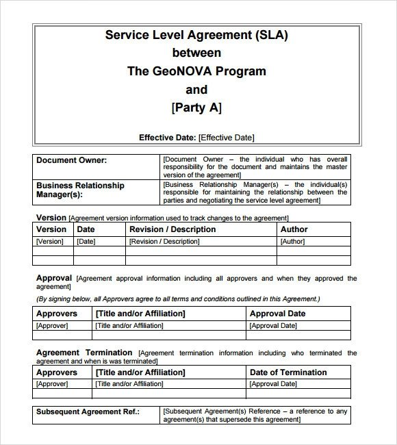 Service Level Agreement Template 18 Service Level Agreement Samples Word Pdf