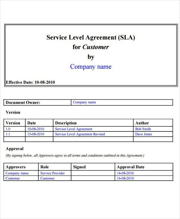 Service Level Agreement Template 9 Service Level Agreement Templates Free Word Pdf