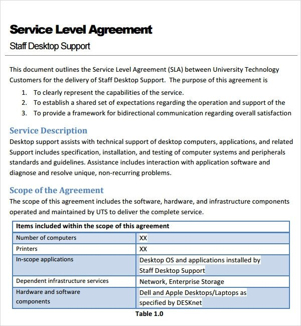 Service Level Agreement Template Sample Service Agreement Template 17 Free Documents