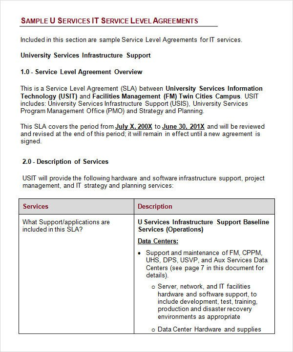 Service Level Agreement Template Service Level Agreement 17 Download Free Documents In