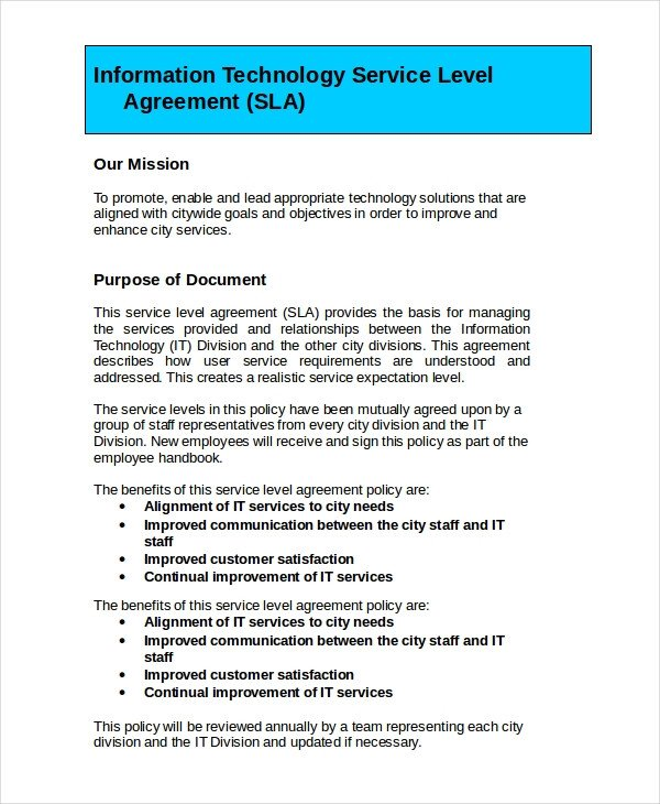 Service Level Agreement Template Service Level Agreement 22 Free Pdf Word Psd