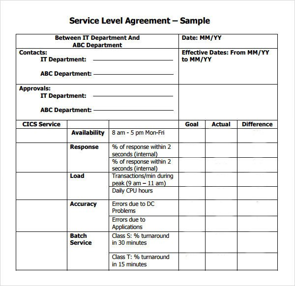 Service Level Agreement Template Service Level Agreement 9 Download Free Documents In