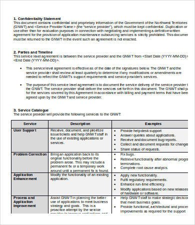 Service Level Agreement Template Service Level Agreement Template 20 Free Word Pdf