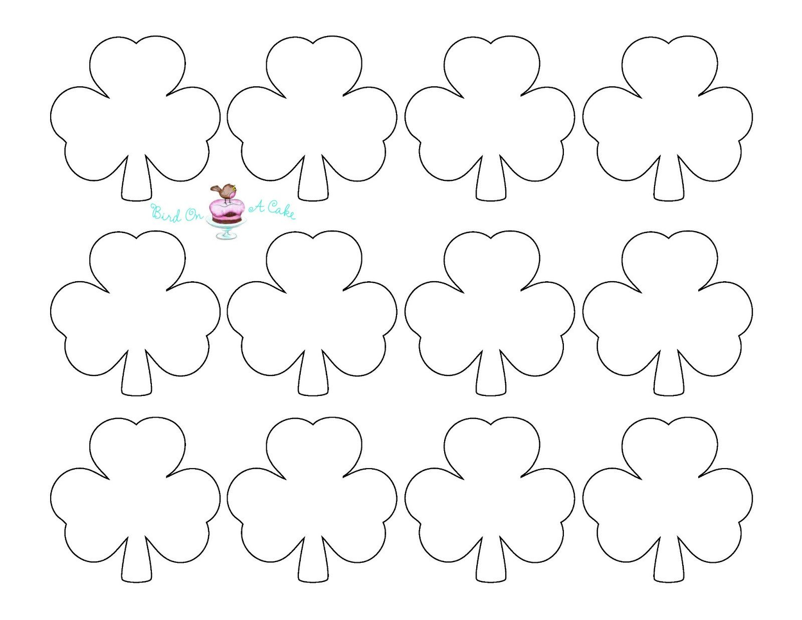 Shamrock Template Free Printable Bird A Cake St Patrick S Day Shamrock Cupcake toppers