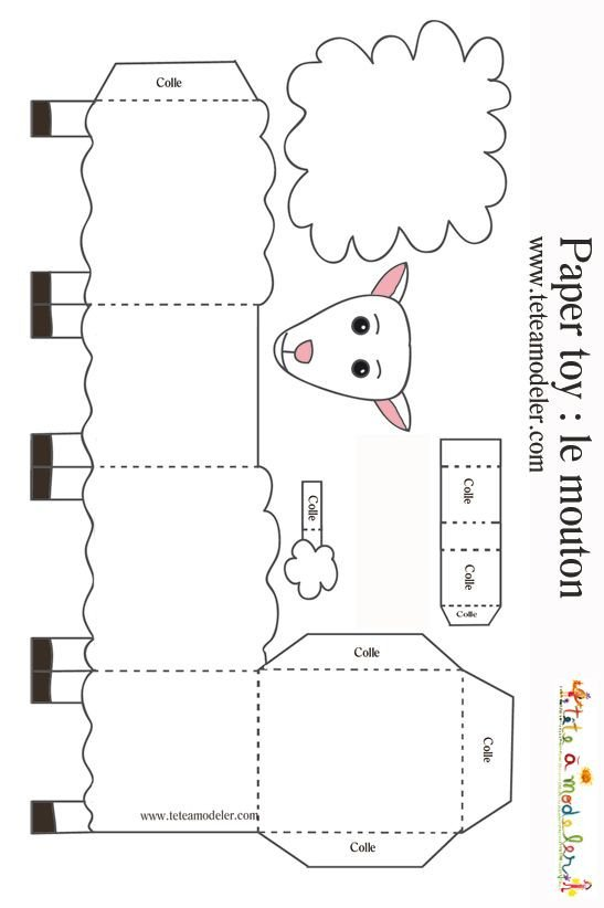 Sheep Ears Template Sheep Paper toys and Lamb On Pinterest