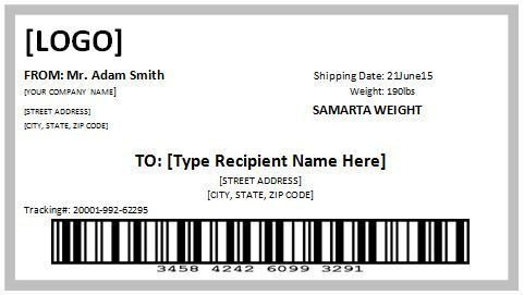 Shipping Label Template Word 10 Free Template for Shipping Label