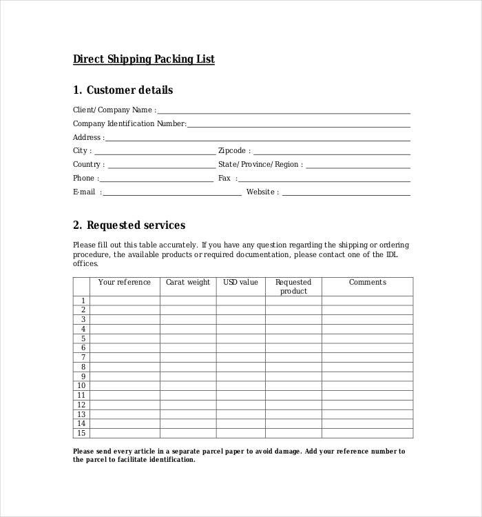 Shipping Packing List Template 24 Packing List Templates Pdf Doc Excel