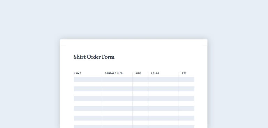 Shirt order form Template T Shirt order form Free Pdf & Excel Template