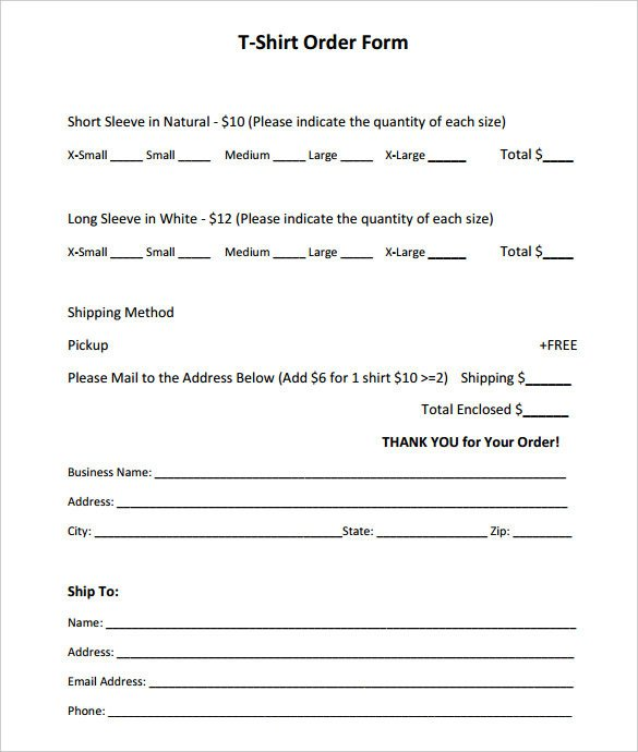 Shirt order form Templates 26 T Shirt order form Templates Pdf Doc