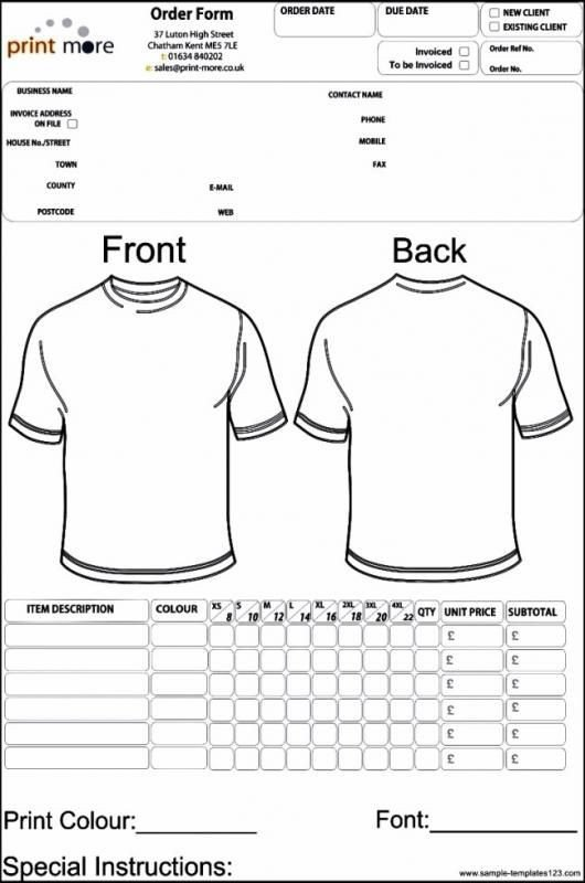 Shirt order form Templates Apparel order form Template Template