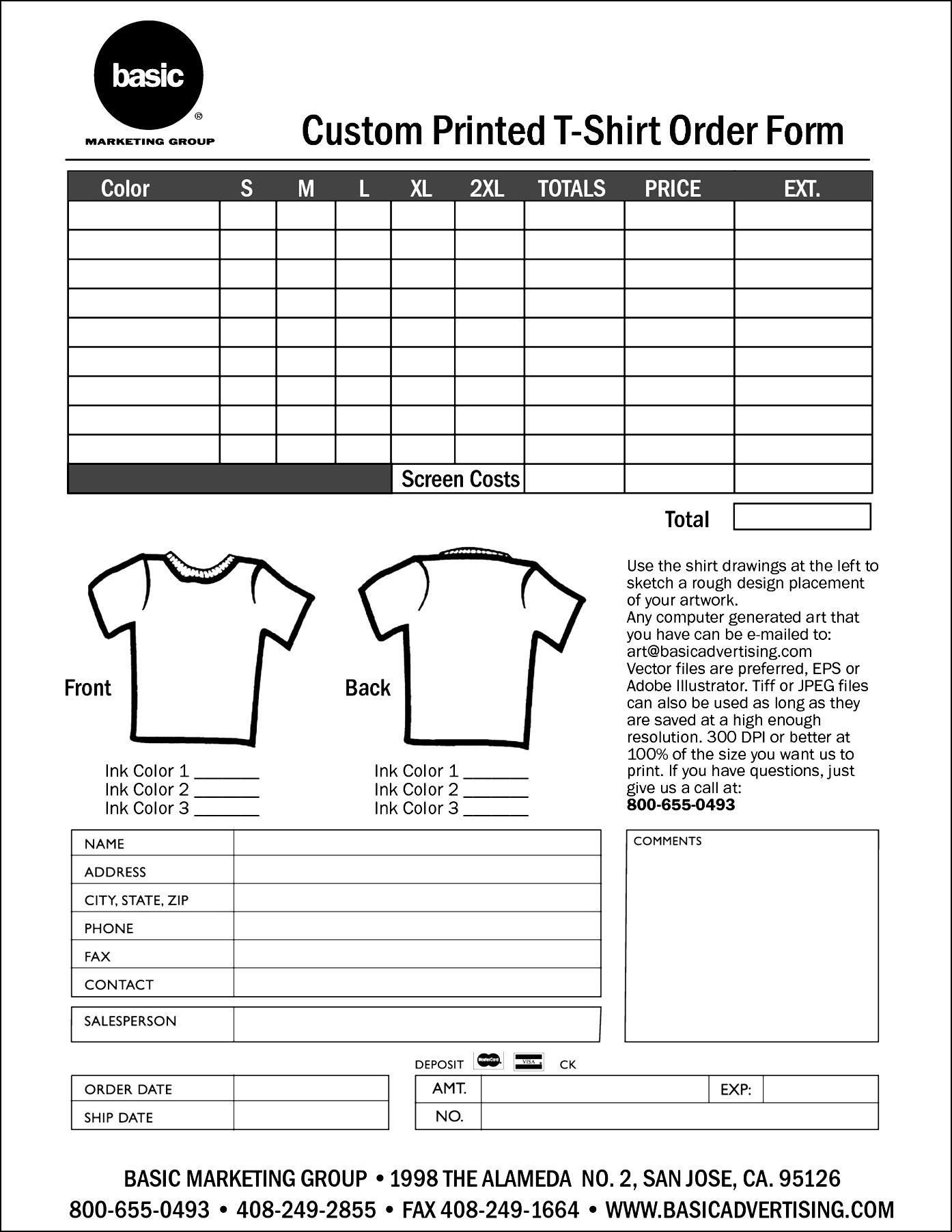 Shirt order form Templates Personalized T Shirt order form Template