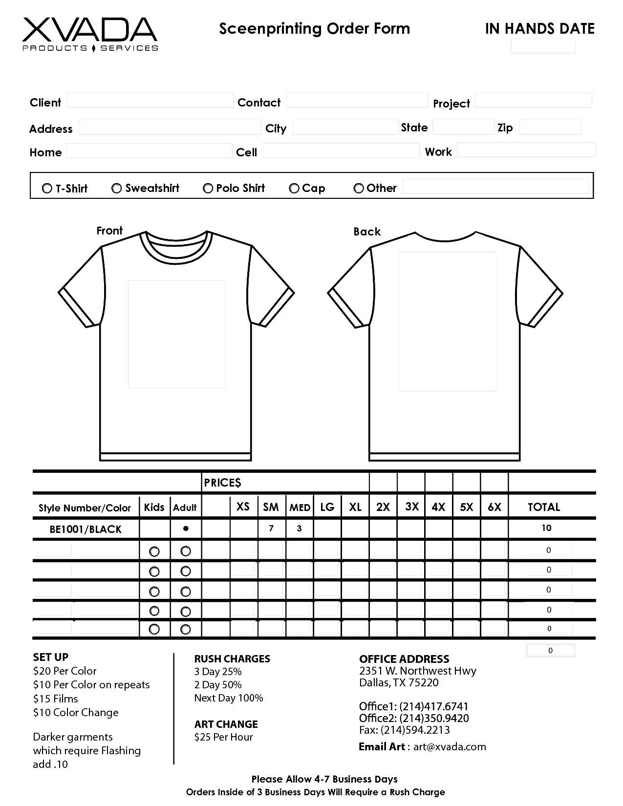 Shirt order form Templates T Shirt order form Template
