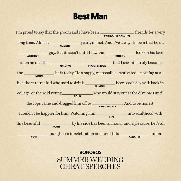 Short Best Man Speech Template Writing A Best Man Speech for Brother
