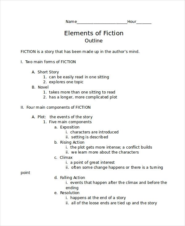 Short Story Outline Template Story Outline Template 6 Free Word Pdf Document