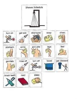 Shower Schedule Nursing Home Visual Schedule for Showering Peds Ot