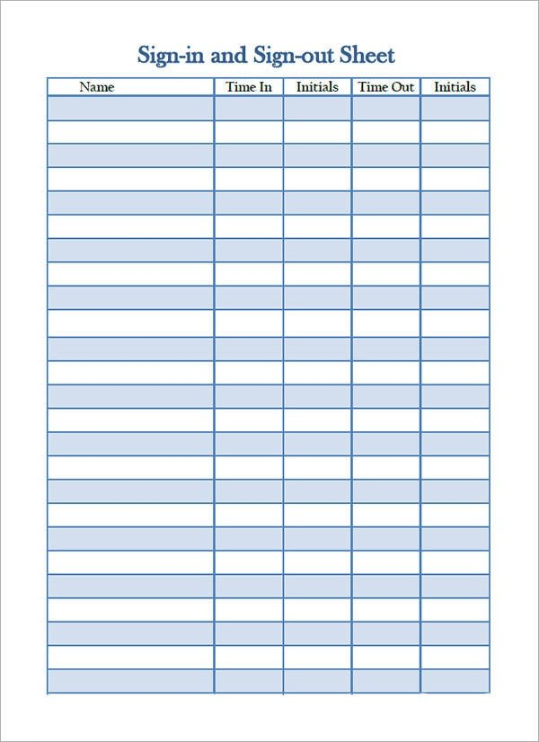 Sign In Sheet Template Doc Free 19 Sample Sign In Sheet Templates In Pdf