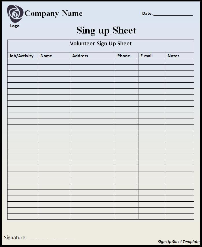Sign In Sheet Template Doc Sign Up Sheet Template