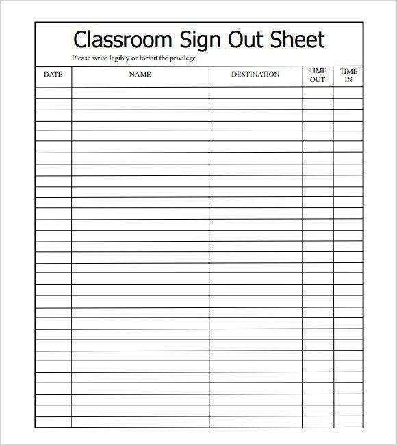 Sign Out Sheet Template 13 Sign Out Sheet Templates Pdf Word Excel