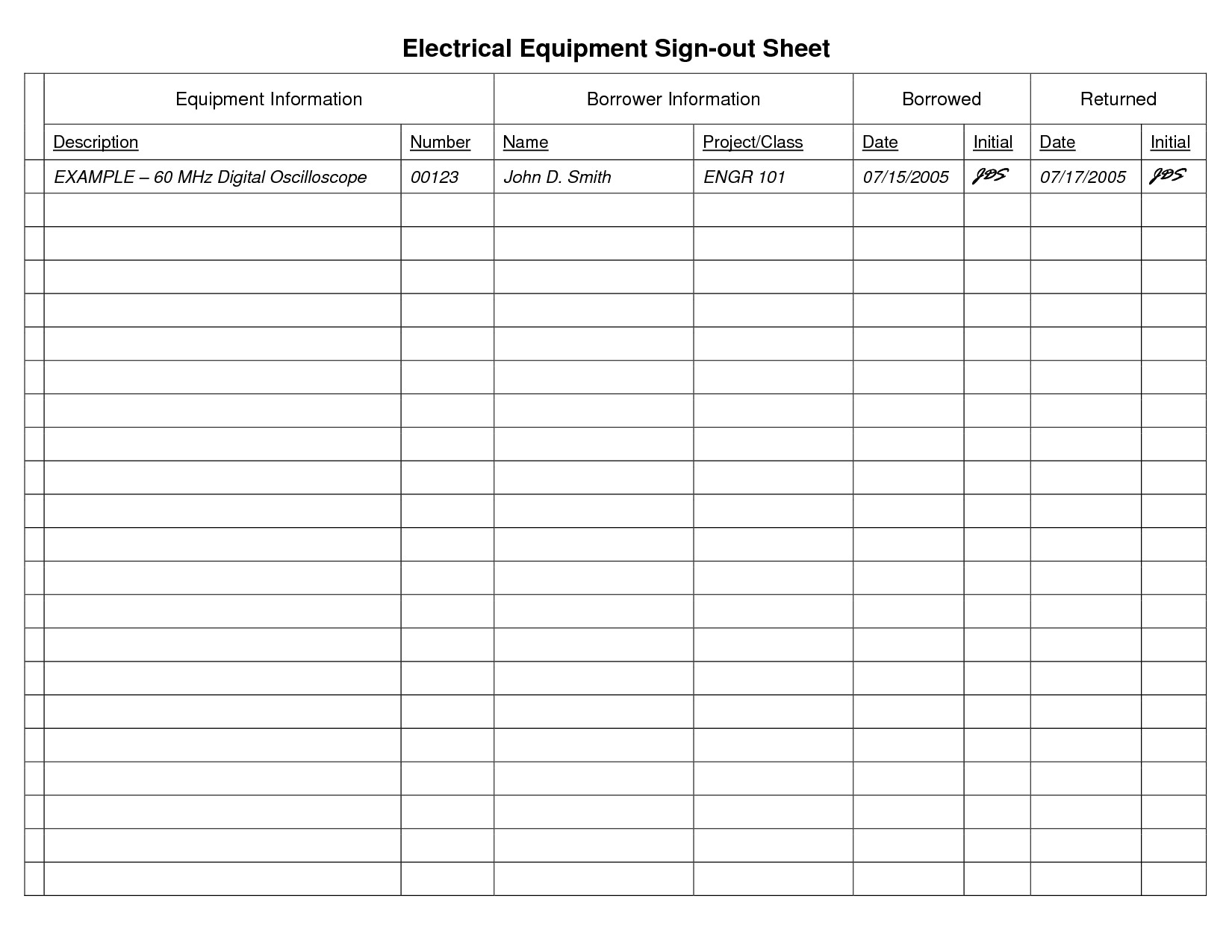 Sign Out Sheet Template 8 Best Of Sign Out Sheet Template Printable Free