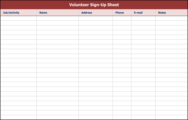 Sign Up form Template 26 Free Sign Up Sheet Templates Excel & Word
