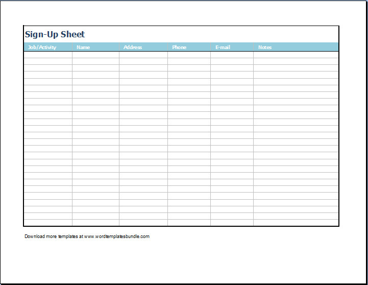 Sign Up form Template Editable Sign Up Sheet