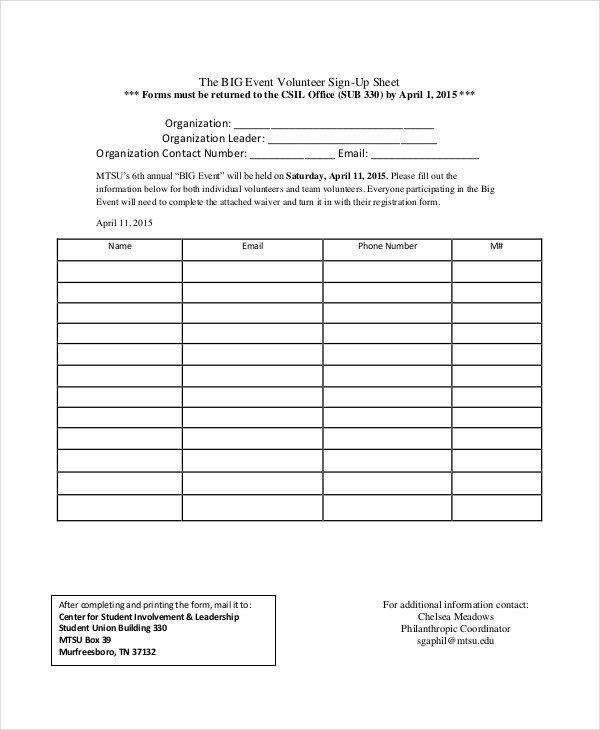 Sign Up form Template event Sign In Sheet Template 16 Free Word Pdf