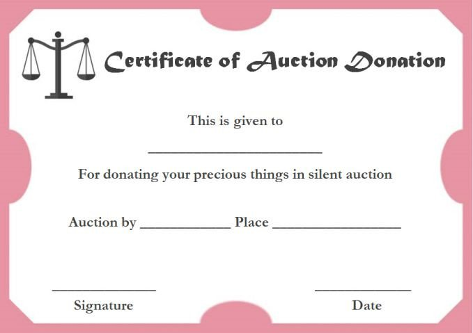 Silent Auction Certificate Template Certificate Templates Charity Voucher Templates Pany