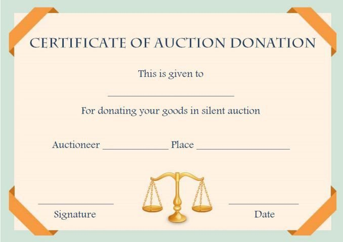 Silent Auction Certificate Template Silent Auction Donation Certificate Template