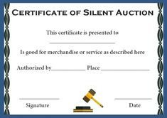 Silent Auction Certificate Template Silent Auction Winner Certificate