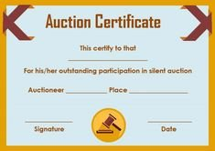 Silent Auction Certificate Template Silent Auction Winner Certificate Template Sample